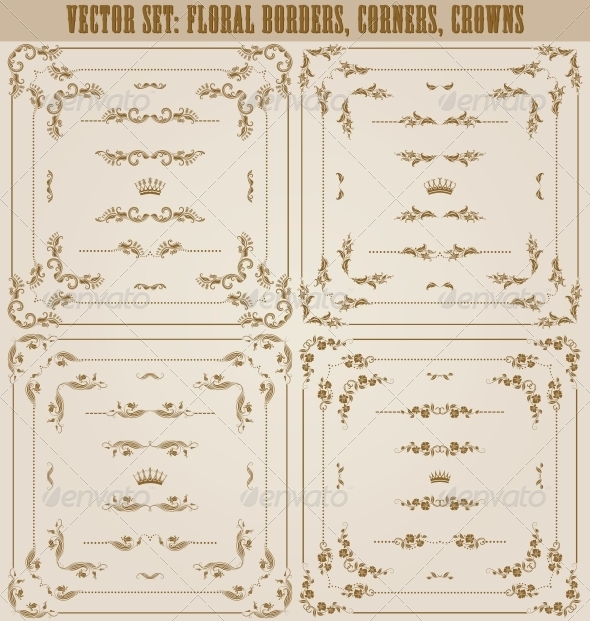 GraphicRiver Vector Set of Gold Decorative Borders 5622608
