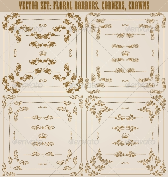 GraphicRiver Vector Set of Gold Decorative Borders 5622615