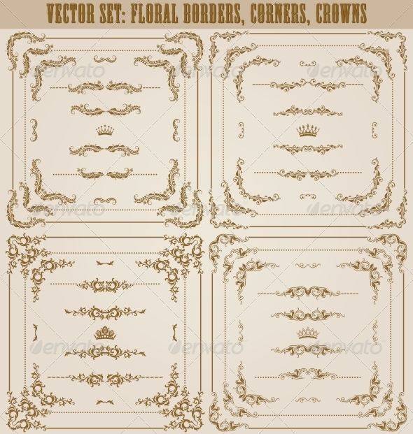 GraphicRiver Vector Set of Gold Decorative Borders 5622625