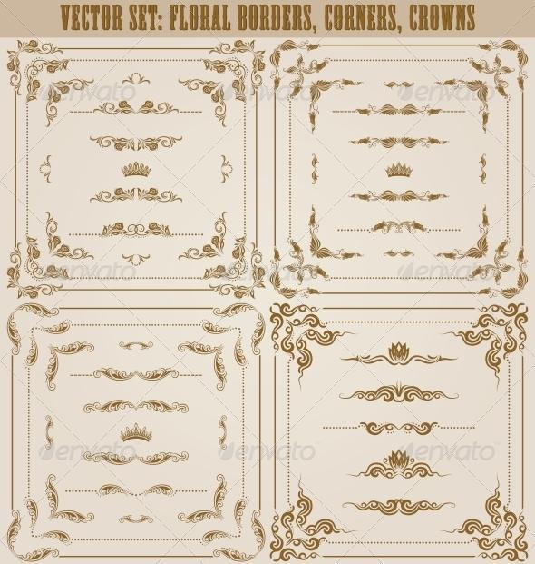 GraphicRiver Vector Set of Gold Decorative Borders 5622655