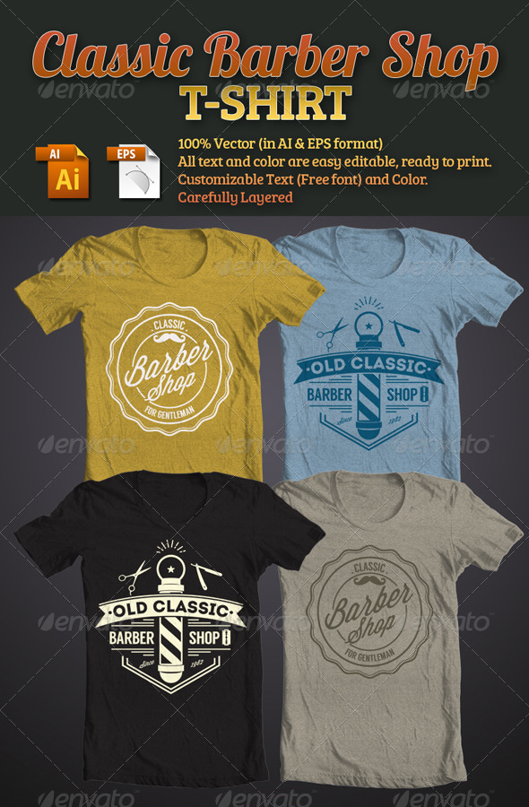 GraphicRiver Classic Barber Shop T-Shirt 5623767