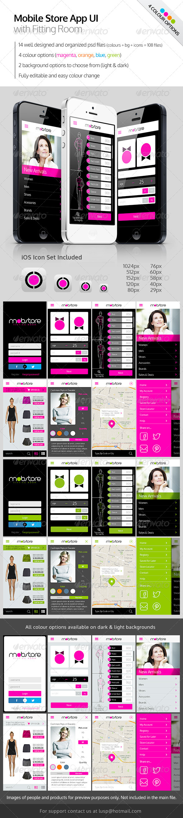 GraphicRiver Mobile Store App UI with Fitting Room 5616711