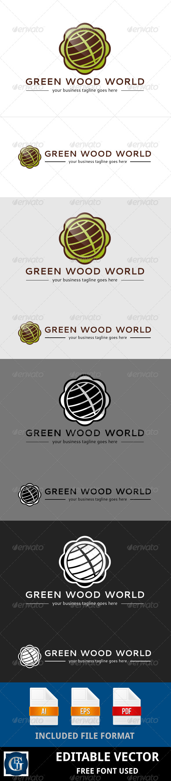 GraphicRiver Green Wood World Logo 5615150
