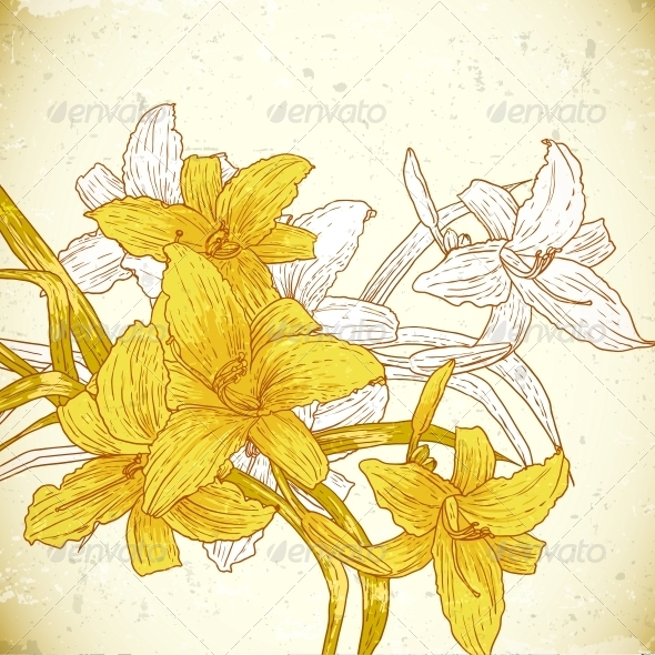 GraphicRiver Floral Background with Yellow Lilies 5624263