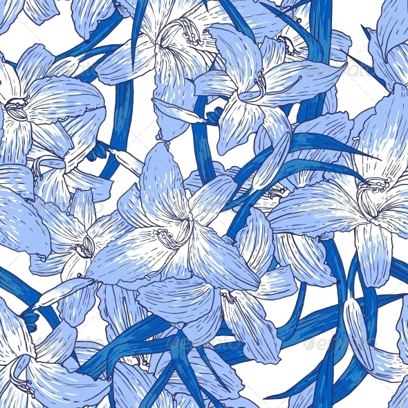 GraphicRiver Seamless Floral Pattern with Lilies 5624284