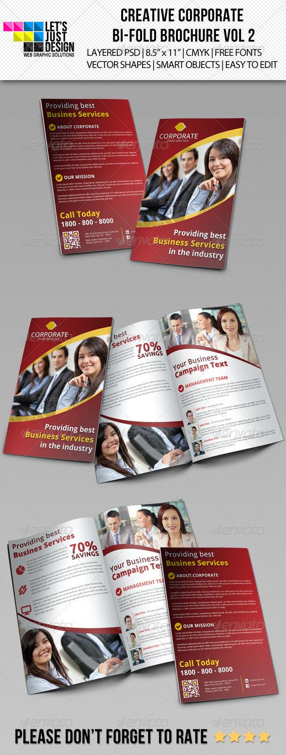 Creative Corporate Bi-Fold Brochure Vol 2  - Corporate Brochures