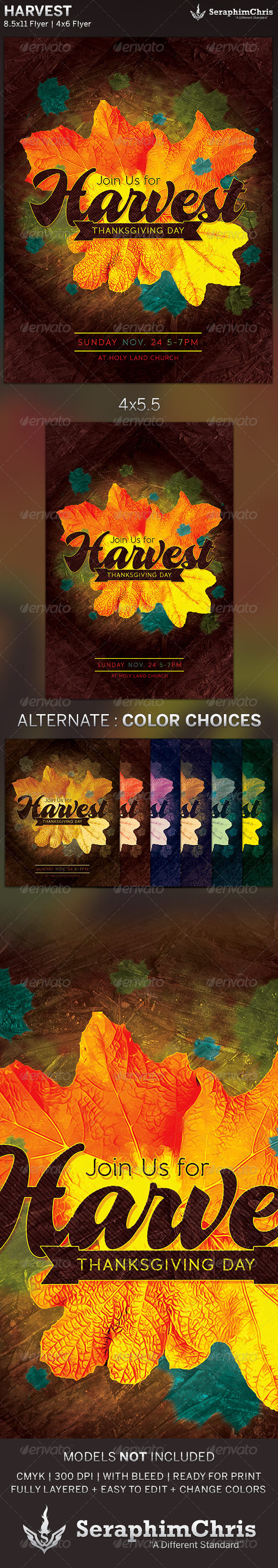 GraphicRiver Harvest Thanksgiving Church Flyer Template 5625407