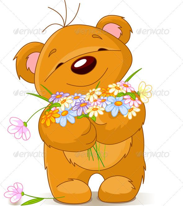 Teddy Bear Giving a Bouquet