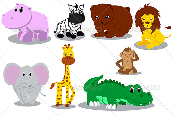 GraphicRiver Wild Cartoon Animals 5625517