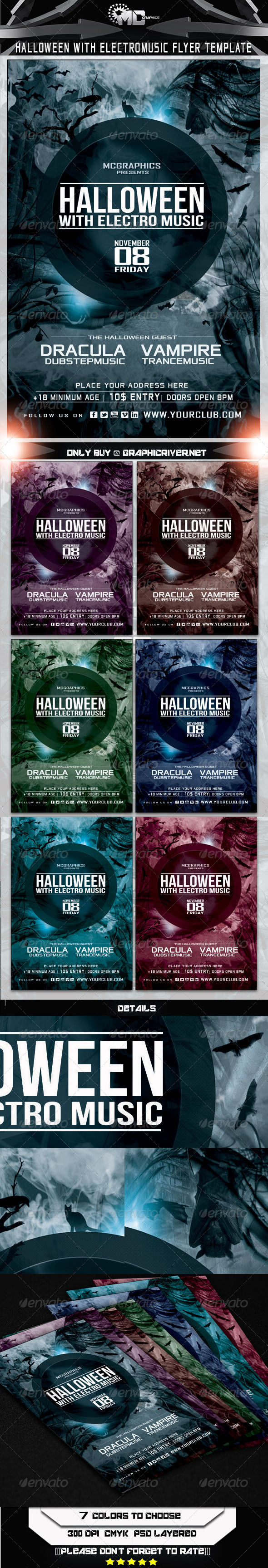 GraphicRiver Halloween With Electro Music Flyer Template 5625518
