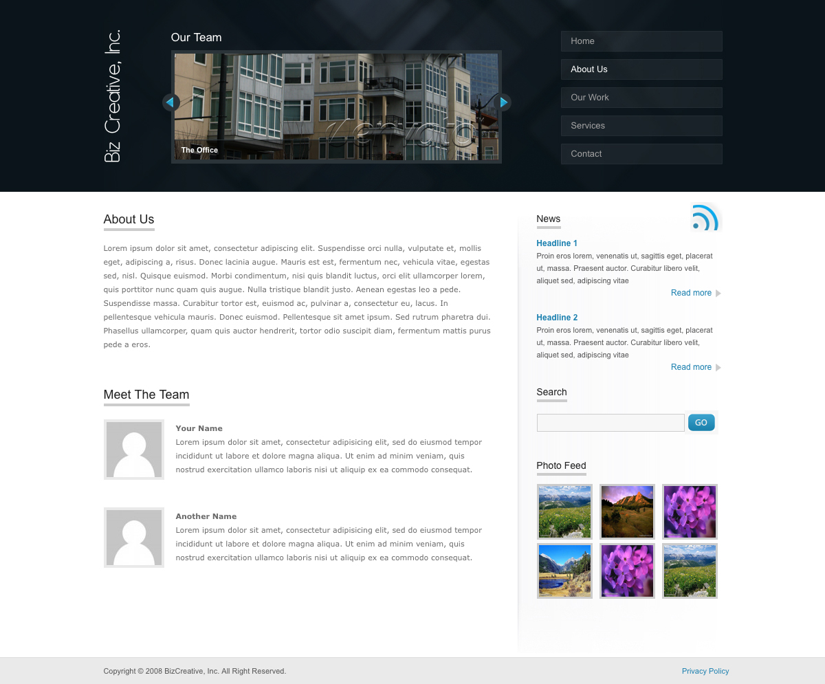 "BizCreative - The about page of BizCreative. Has an area for listing your team members. The content slider up top has changed to ""Our Team"" that can feature pictures of your office or team members."