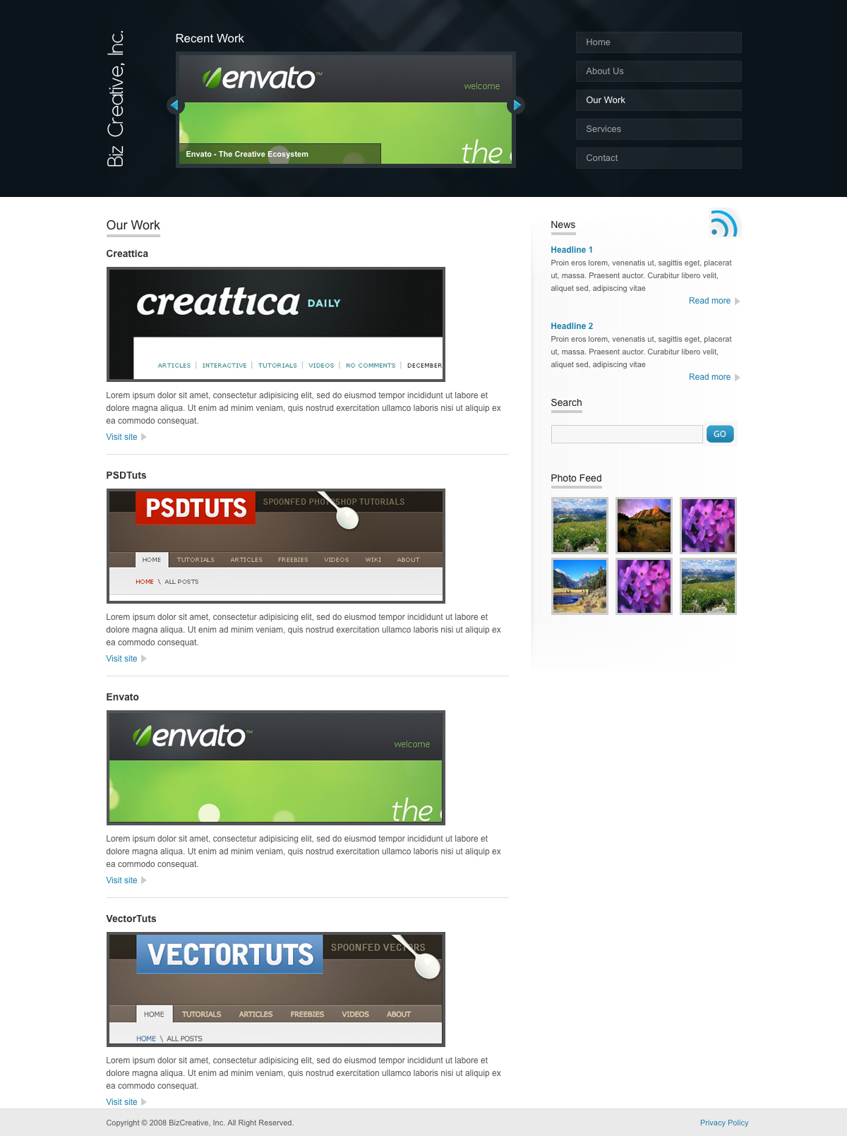 BizCreative - The portfolio page of BizCreative. Neatly lists your portfolio items.