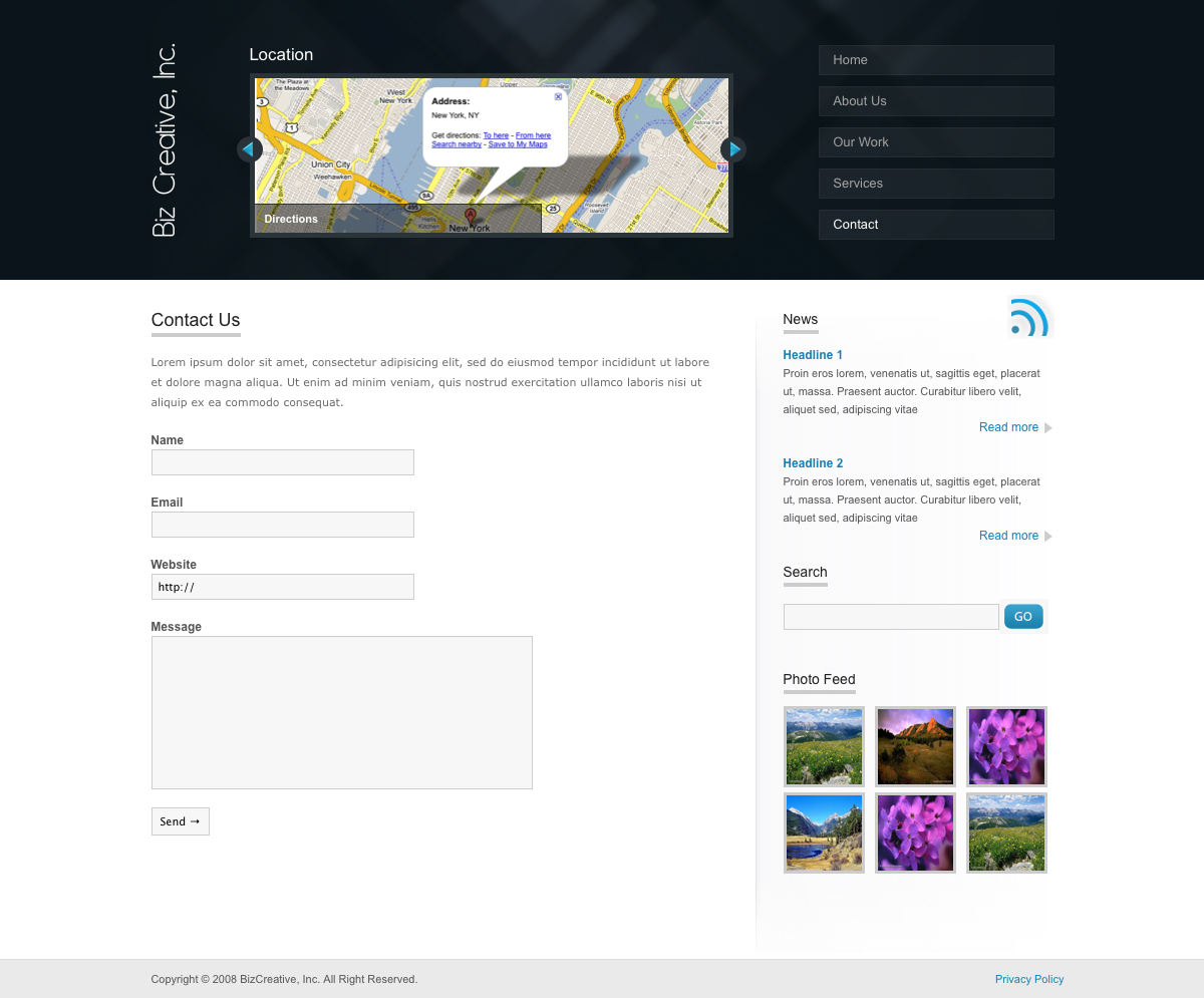 "BizCreative - The contact us page of BizCreative. Features a fully functional contact form with validation. The content slider up top has changed to ""Location"" that can feature a map of your location."