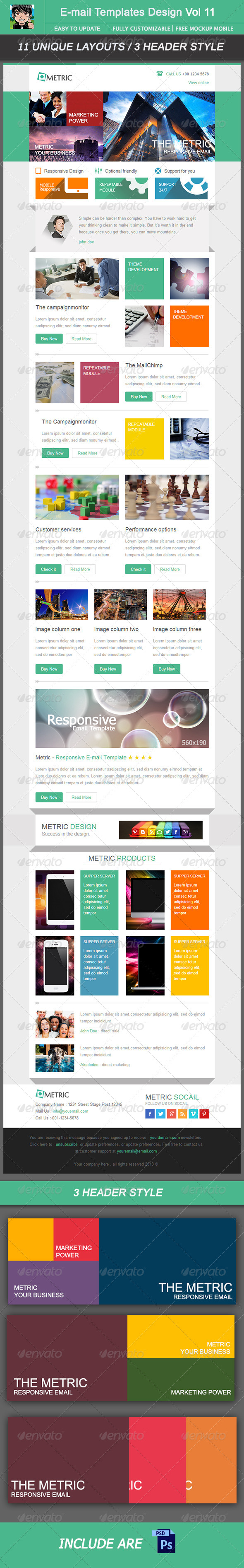 Metric-Email Template Design Vol 11 - E-newsletters Web Elements
