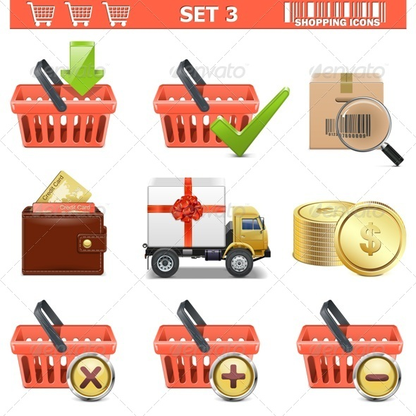 Vector Shopping Icons Set 3
