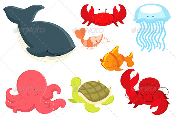 GraphicRiver Marine Cartoon Animals 5626143