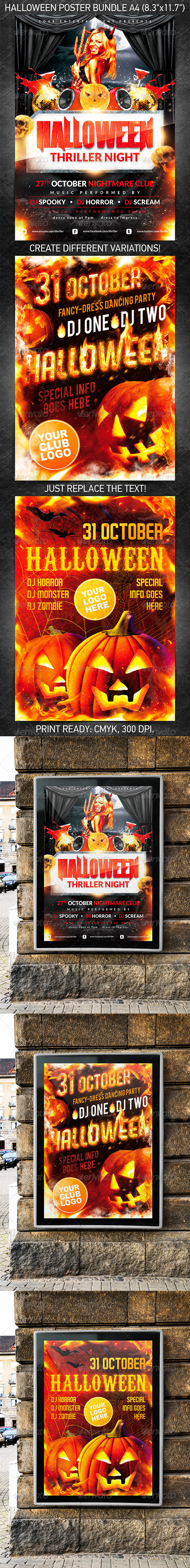 GraphicRiver Halloween Party Poster Bundle 5626332