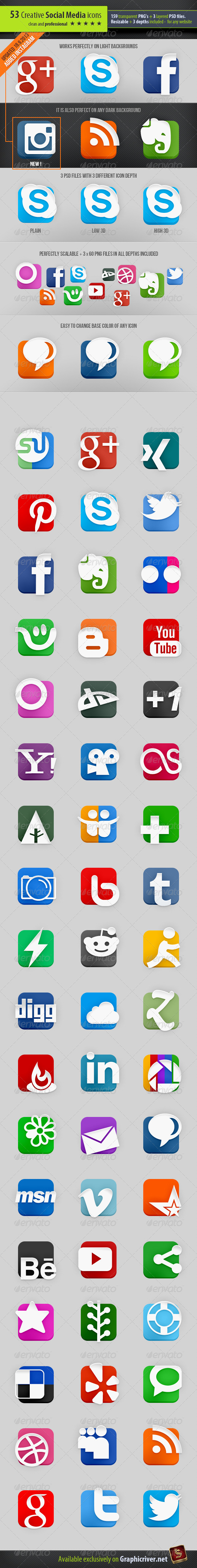 53 Creative Social Media Icons - Media Icons