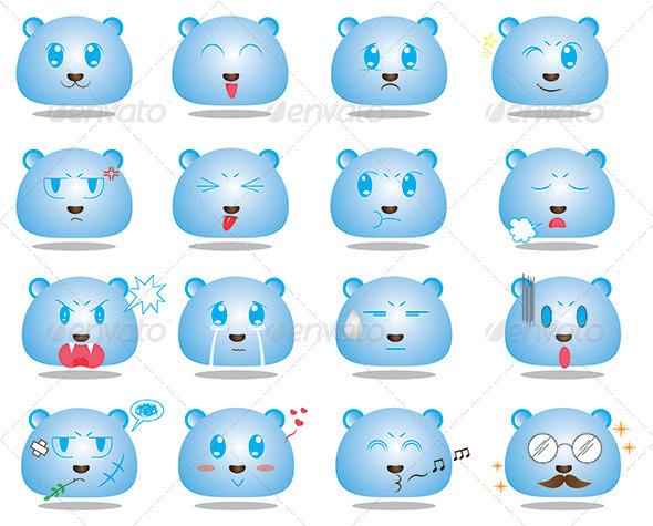 Anime Style Face Emoticon Set 1