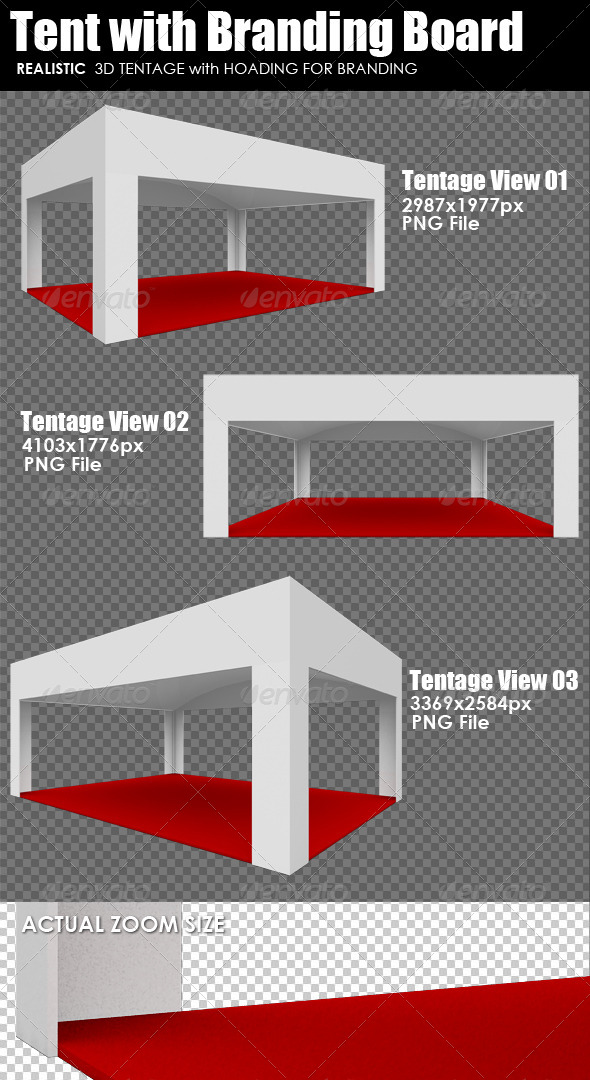 GraphicRiver 3D Render Tent with Branding Board 5627497