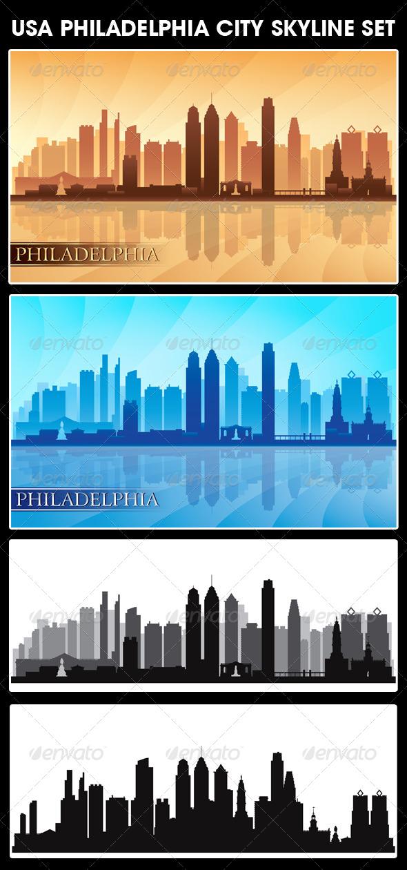 GraphicRiver Philadelphia USA City Skyline Silhouettes Set 5628443