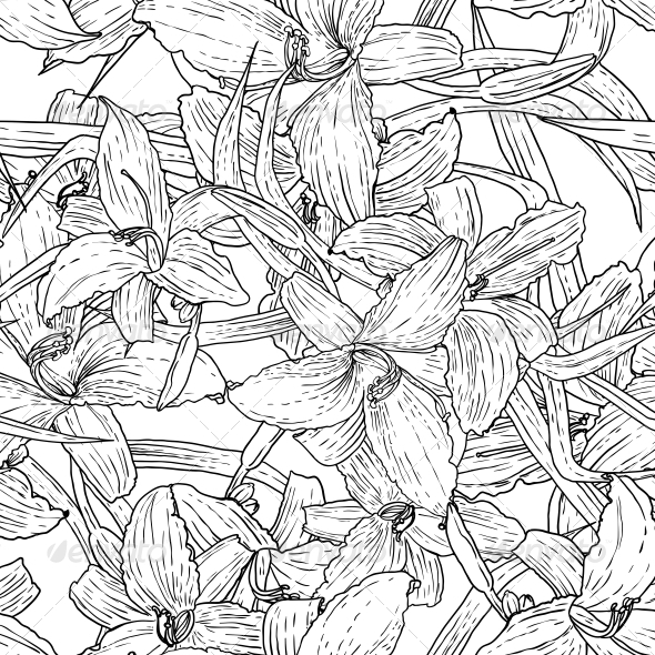 GraphicRiver Seamless Monochrome Floral Background with Lilies 5628781