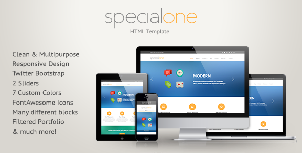 ThemeForest SpecialOne Responsive HTML Template 5619250