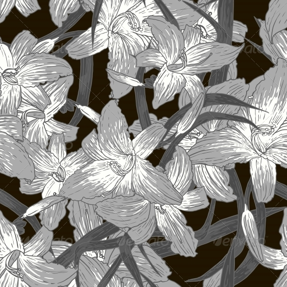 GraphicRiver Seamless Monochrome Floral Background with Lilies 5628800