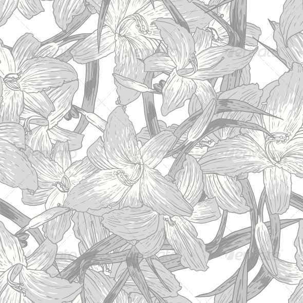 GraphicRiver Seamless Monochrome Floral Background with Lilies 5628836
