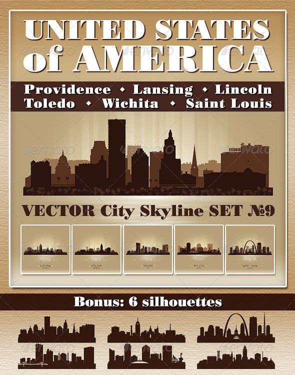 GraphicRiver Vector City Skyline USA Set Number 9 5628850