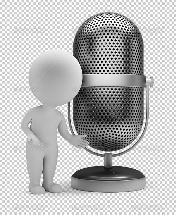 GraphicRiver 3D Small People Retro Microphone 5628974