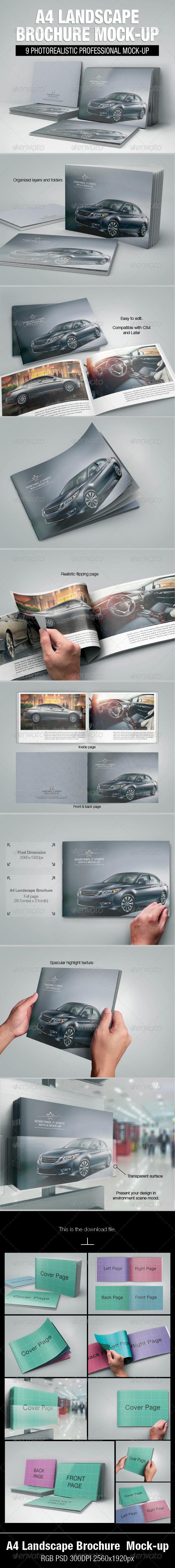 GraphicRiver A4 Landscape Brochure Mock-up 5629158