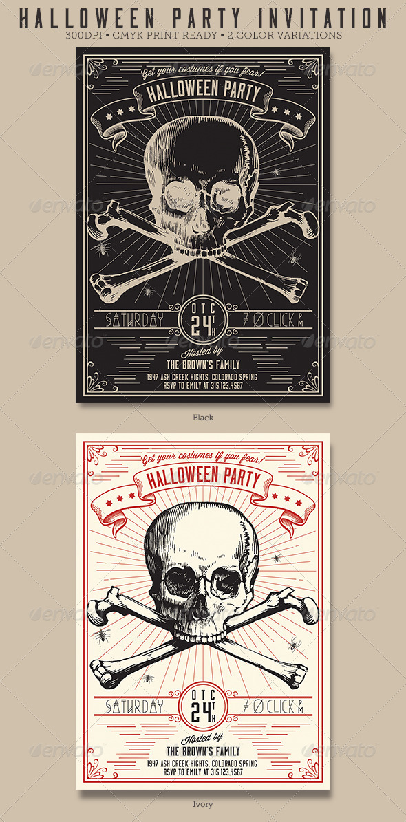 GraphicRiver Vintage Halloween Party Flyer Invitation 5629208