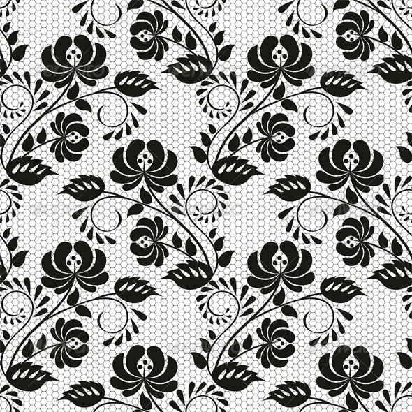 Seamless Background with Lace Floral Pattern