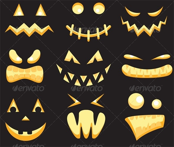 GraphicRiver Halloween Scary Monster Faces in the Dark 5629331