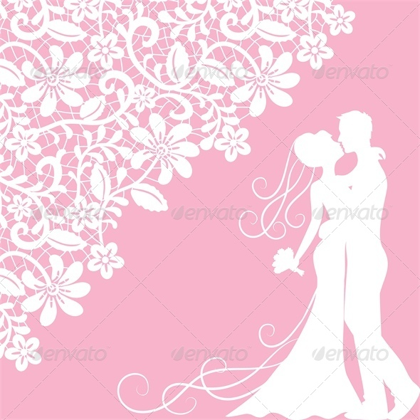 GraphicRiver Wedding Card with Newlyweds and Lace 5629350