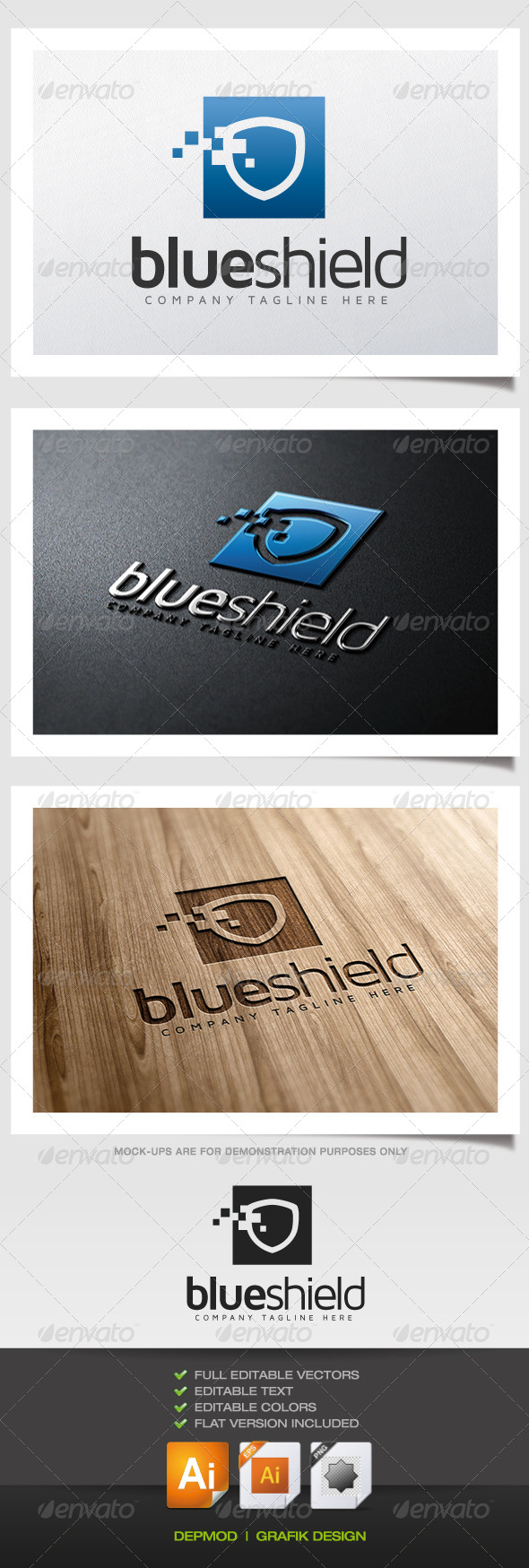 GraphicRiver Blue Shield Logo 5629486