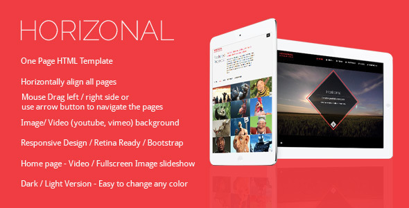 Horizonal Unique Creative OnePage Bootstrap HTML5 - Creative Site Templates