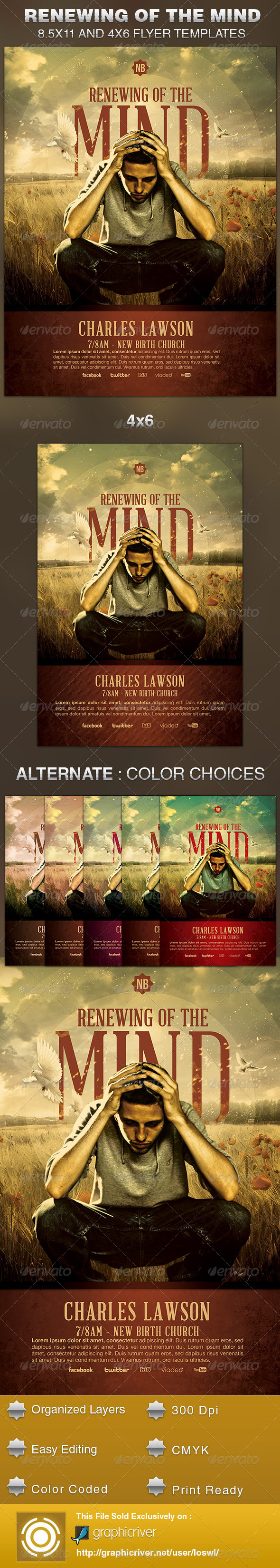 GraphicRiver Renewing of the Mind Church Flyer Template 5631354
