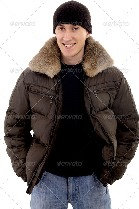 Man with warm clothing - Stock Photo - Images