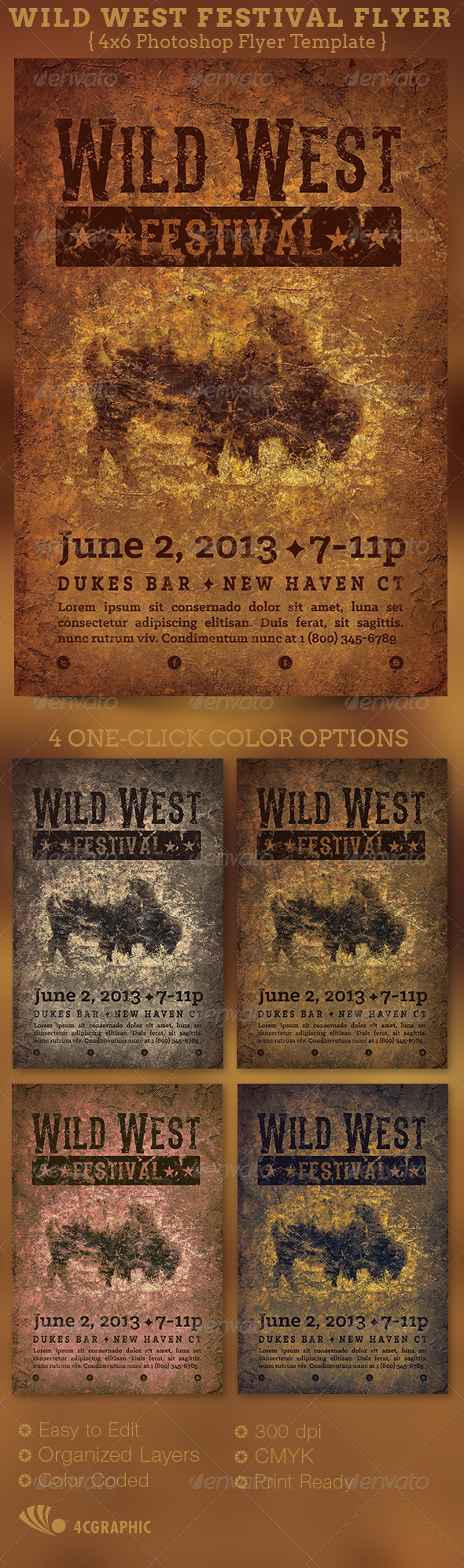 GraphicRiver Wild West Festival Flyer Template 5542295