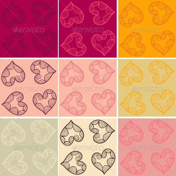 GraphicRiver Valentine Cards Patterns Set 5631731