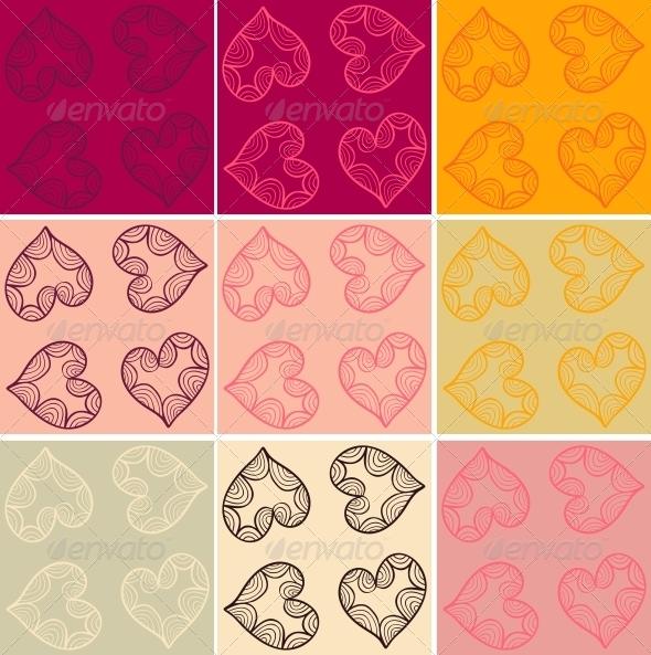 Valentine Cards Patterns Set