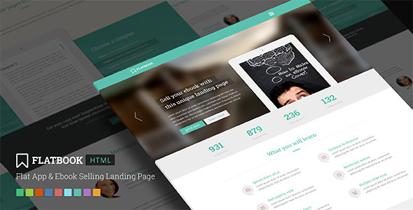 ThemeForest FlatBook Flat App & Ebook Selling Landing Page 5631976