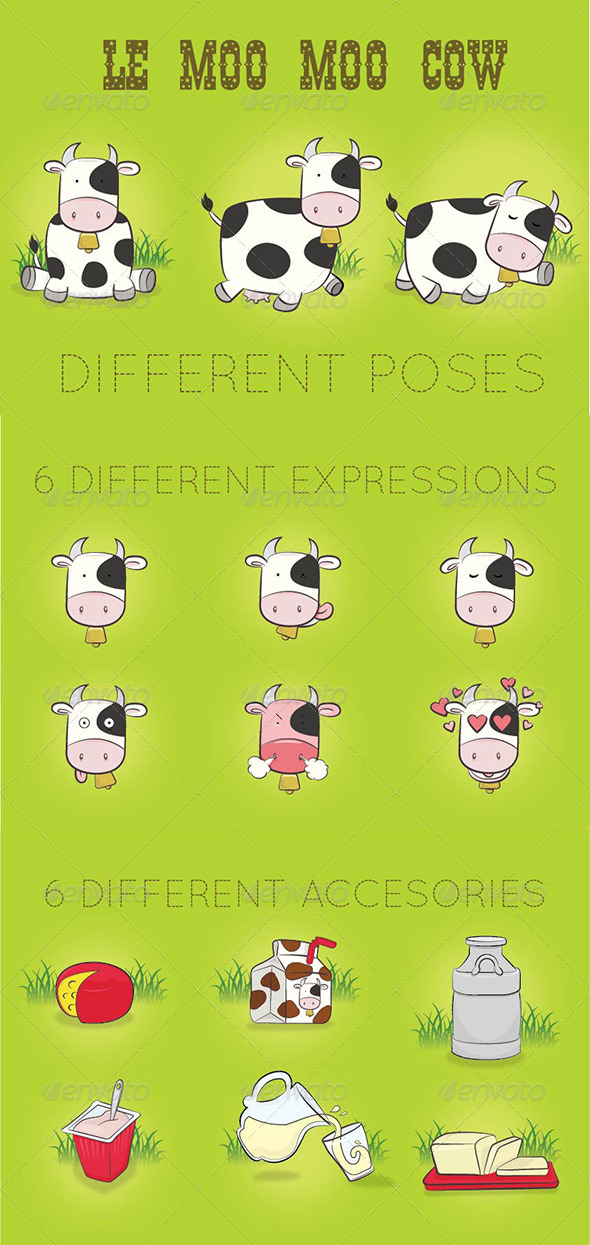 GraphicRiver Cow n Dairy Vector Set 5623955