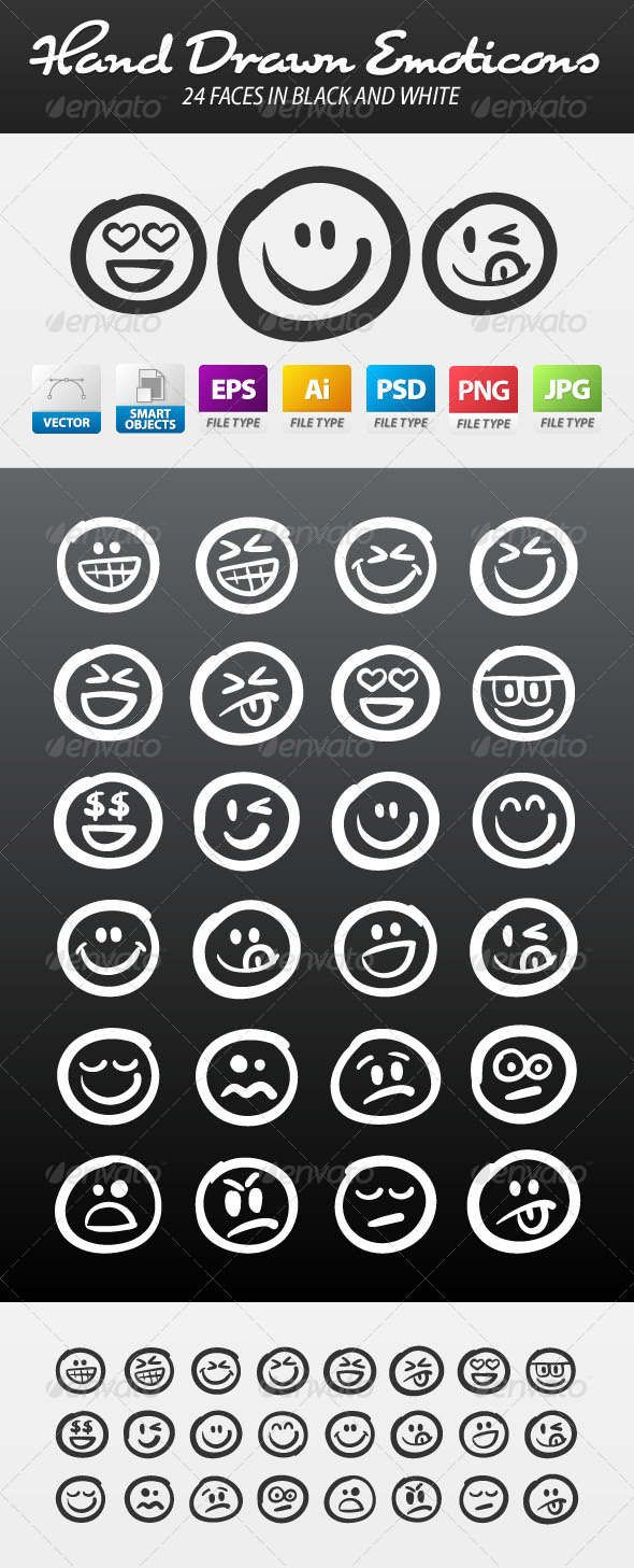 GraphicRiver Hand Drawn Emoticon Smiley Icon Vector Set 5633827