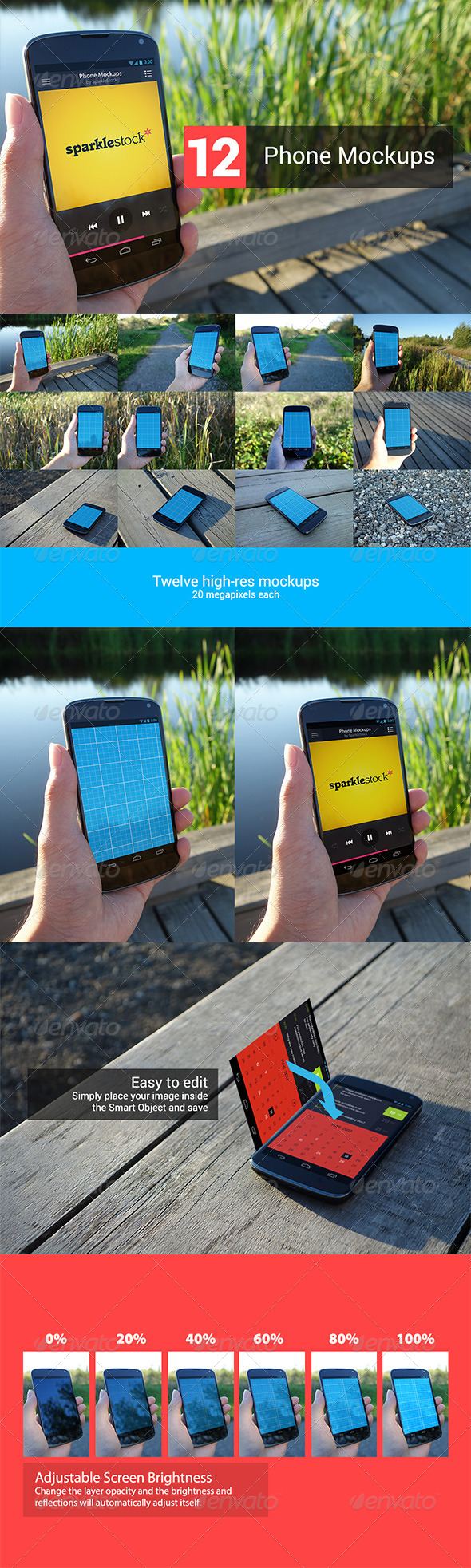 12 Realistic Phone Mockups