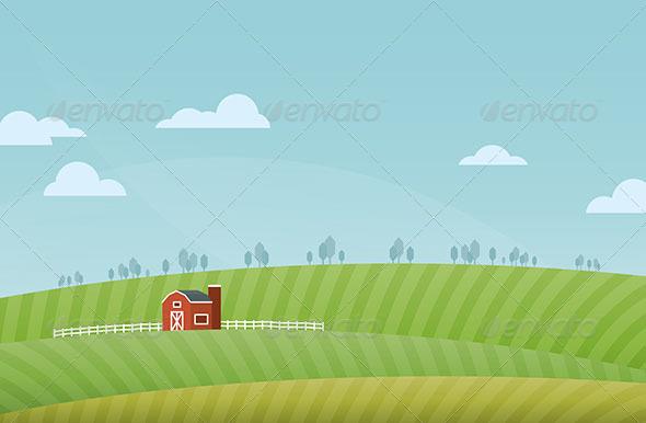 GraphicRiver Farm Landscape 5634396