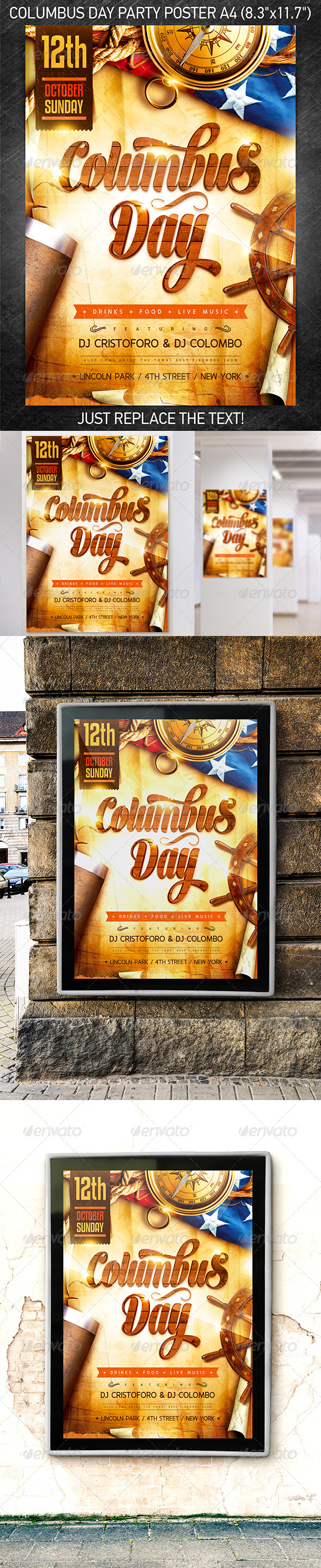 GraphicRiver Columbus Day Party Poster 5576992