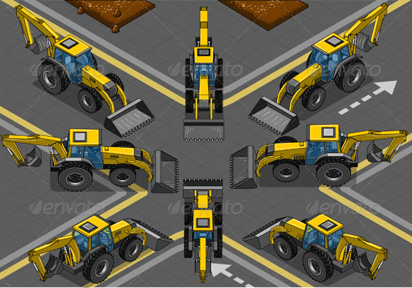 GraphicRiver Isometric Yellow Backhoe in Eight Positions 5636251